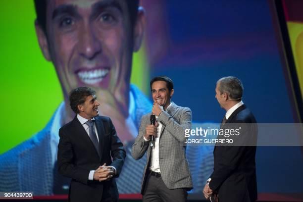 Former Spanish cyclist Perico Delgado Spanish cyclist Alberto Contador and Spanish journalist Carlos de Andres take part in the presentation of the...