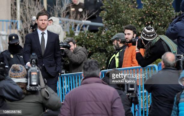 Former Spanish football player Xabi Alonso leaves after testified in Madrid Provincial Court for the tax evasion trial in Madrid Spain on January 22...