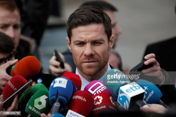 Former Spanish football player Xabi Alonso speaks to media after testified in Madrid Provincial Court for the tax evasion trial in Madrid Spain on...