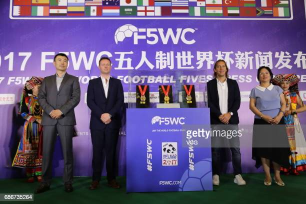Former Spanish footballer Michel Salgado attends a press conference of 2017 F5WC Football 5 World Championship on May 22 2017 in Beijing China