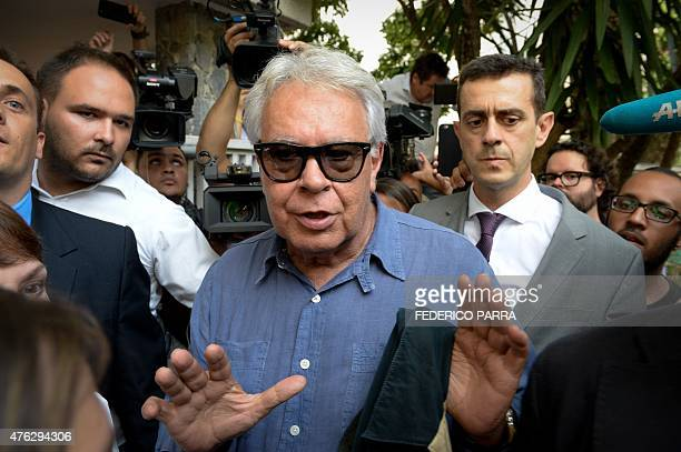 Former Spanish Prime Minister Felipe Gonzalez arrives for a meeting with former Mayor Antonio Ledezma who is serving house arrest in Caracas on June...