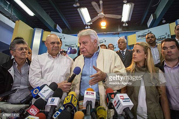 Former Spanish Prime Minister Felipe Gonzalez attends a press conference with Lilian Tintori wife of jailed opposition leader Leopoldo Lopez after...