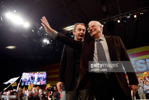 Former Spanish Prime Minister Jose Luis Rodriguez Zapatero and Spanish member of the European Parliament Josep Borrell waves during a Catalan...