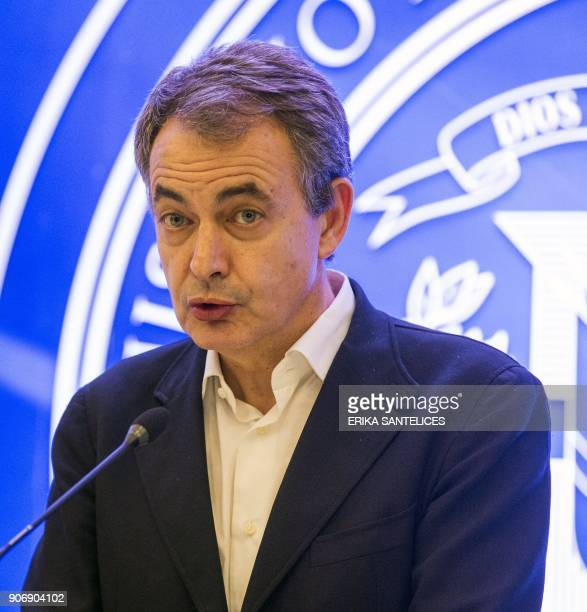 Former Spanish prime minister Jose Luis Rodriguez Zapatero gives a press conference after a meeting with Venezuelan government representatives and...