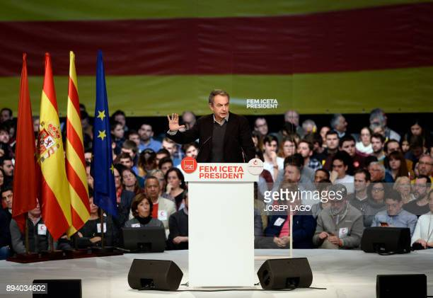 Former Spanish Prime Minister Jose Luis Rodriguez Zapatero speaks during a Catalan Socialist party campaign meeting for the upcoming Catalan regional...