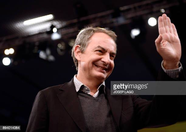 Former Spanish Prime Minister Jose Luis Rodriguez Zapatero waves during a Catalan Socialist party campaign meeting for the upcoming Catalan regional...