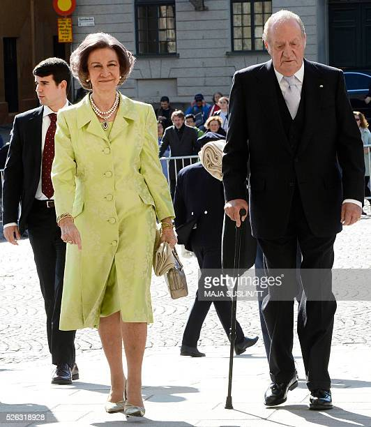 Former Spanish Queen Sofia and King Juan Carlos arrive for for the Te Deum thanksgiving service in the Royal Chapel during King Carl XVI Gustaf of...