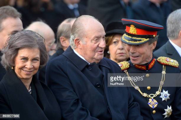 Former Spanish Royals Queen Sofia and King Juan Carlos I and the Grand Duke Henri of Luxembourg outside the former Royal Palace in Bucharest, on...
