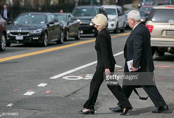 STATES FEB 20 Former Speaker Newt Gingrich RGa departs with his wife Callista depart after funeral services for the late Supreme Court Associate...