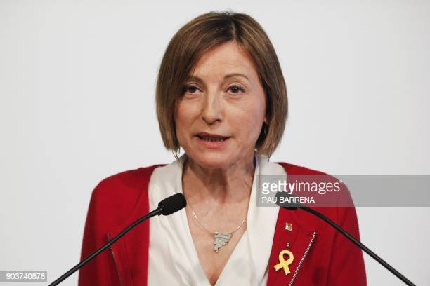 Former speaker of Catalonia's sacked parliament Carme Forcadell holds a press conference in Barcelona on January 11 2018 / AFP PHOTO / Pau Barrena