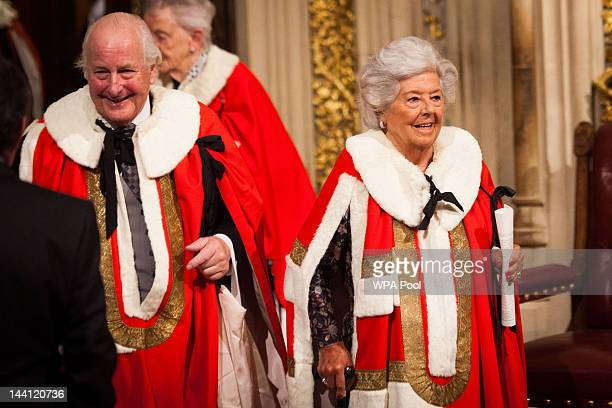 Former Speaker of the House Baroness Betty Boothroyd departs after the the Queen's Speech during the State Opening of Parliament on May 9 2012 in...