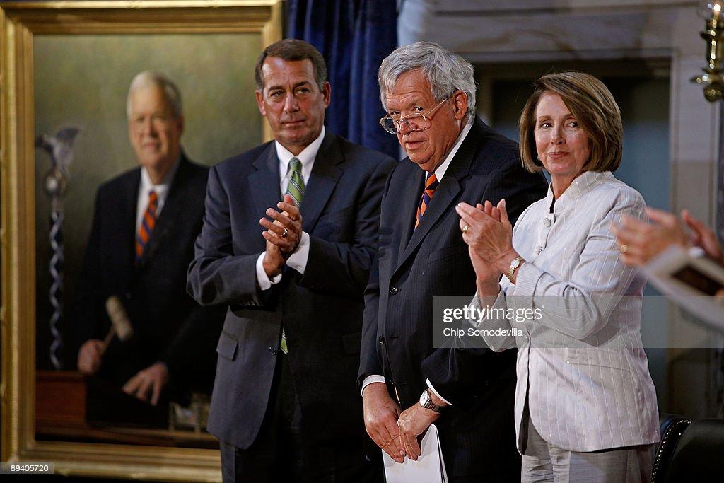 Members Of Congress Unveil Portrait Of Former Speaker Hastert : News Photo