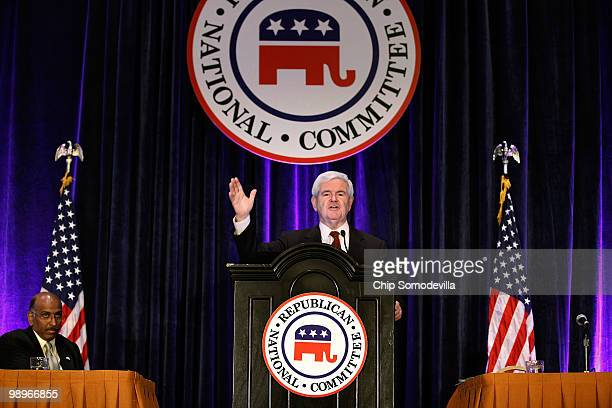 Former Speaker of the House Newt Gingrich addresses the Republican National Committee's State Chairman's meeting with RNC Chairman Michael Steele at...