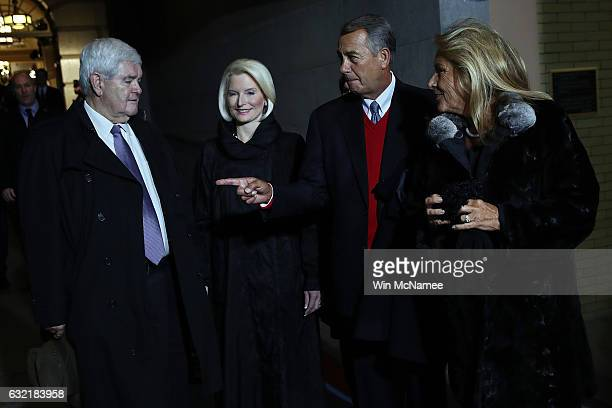 Former Speaker of the House Newt Gingrich his wife Callista Gingrich former Speaker of the House John Boehner and his wife Deborah Boehner arrive for...