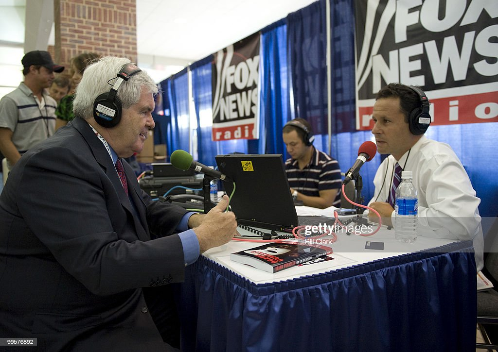 Former Speaker of the House Newt Gingrich, R-Ga., does a radio interview with Fox News at the Republican National Convention in the Excel Center in St. Paul, Minn., on Monday, Sept. 1, 2008.