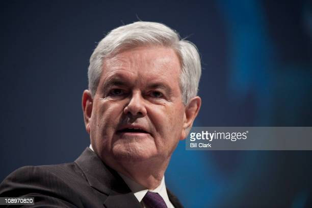 Former Speaker of the House Newt Gingrich, R-Ga., speaks to the CPAC meeting, held by the American Conservative Union in Washington on Thursday, Feb....