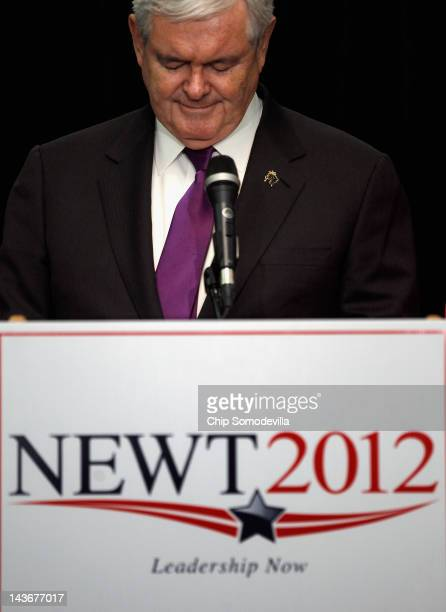 Former Speaker of the House Newt Gingrich speaks as he announces he is suspending his campaign for the Republican presidential nomination May 2 2012...