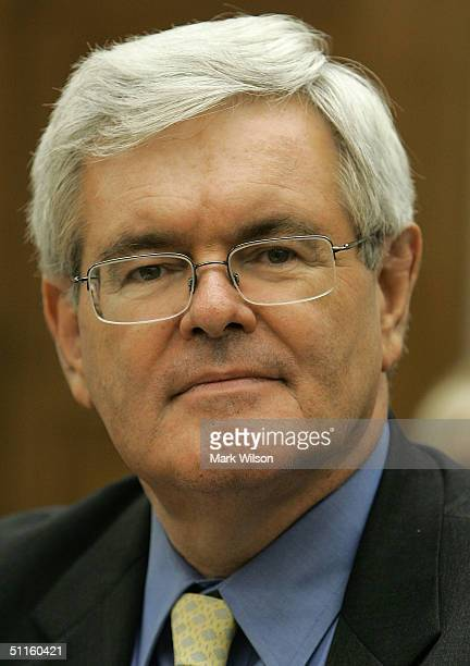 Former Speaker of the House Newt Gingrich testifies before the House Select Intelligence Committee on Capitol Hill August 11 2004 in Washington DC...