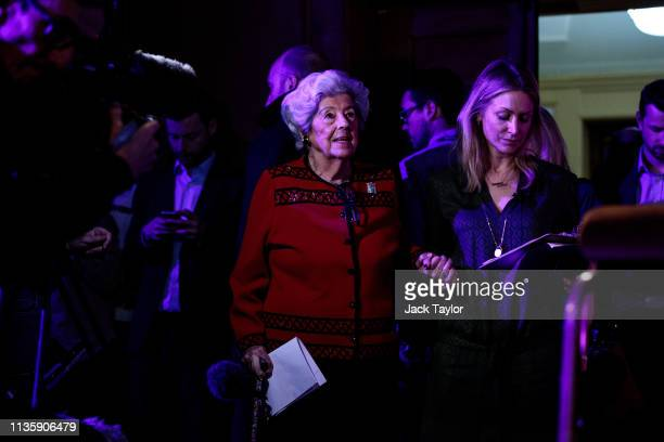 Former Speaker of the House of Commons Baroness Boothroyd attends a 'People's Vote' rally calling for another referendum on Brexit on April 9 2019 in...