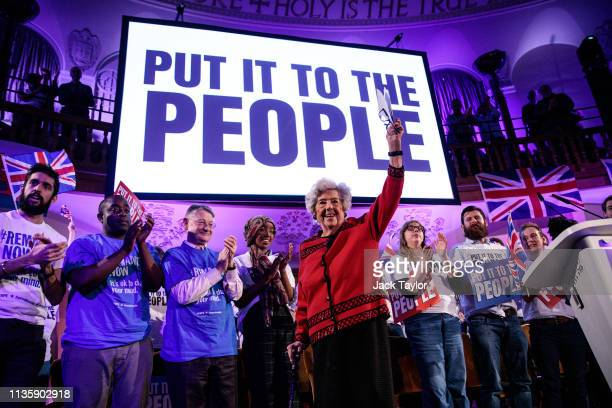 Former Speaker of the House of Commons Baroness Boothroyd speaks at a 'People's Vote' rally calling for another referendum on Brexit on April 9 2019...