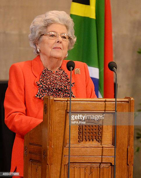 Former Speaker of the House of Commons Betty Boothroyd speaks at the Celebration of the Life of Nelson Mandela held at the Westminster Hall House of...