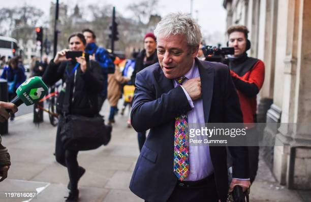 Former Speaker of the House of Commons John Bercow is seen outside the Houses of Parliament on January 30, 2020 in London, England. The UK is due to...