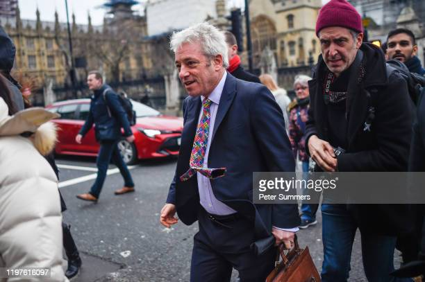 Former Speaker of the House of Commons, John Bercow is seen outside the Houses of Parliament on January 1, 2020 in London, England. The UK is due to...