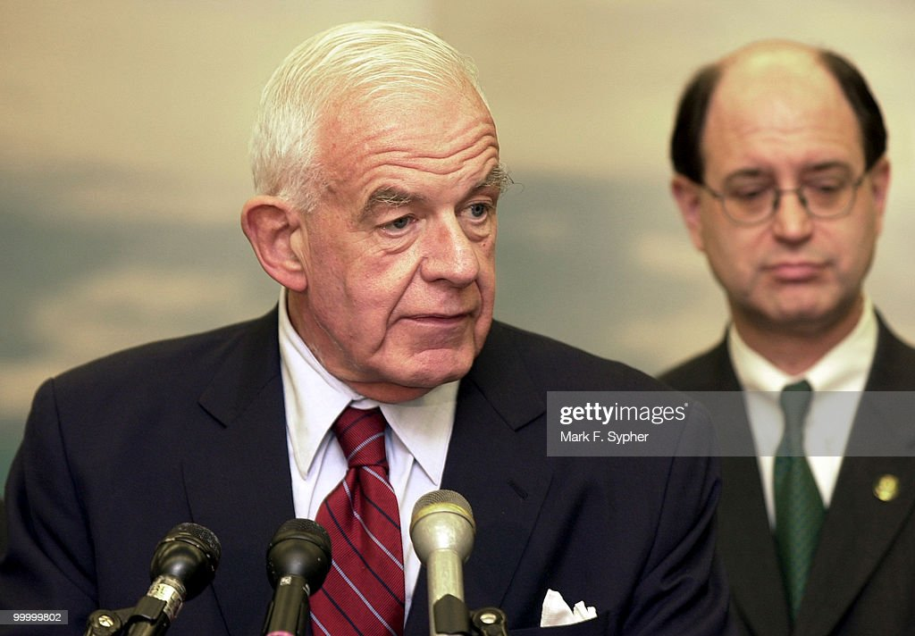 Former Speaker Tom Foley, at podium, spoke at a press conference on Wednesday in the Rayburn building on what to do in case of an attack on Congress. Behind Folay from left is Rep. Bradley J. Sherman (D-CA).