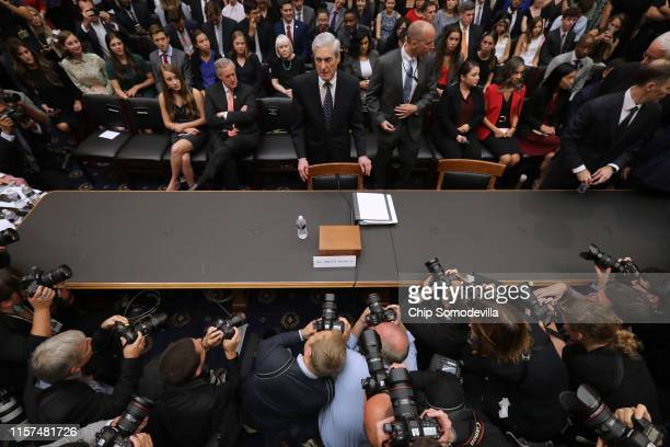 Former Special Counsel Robert Mueller arrives before testifying to the House Judiciary Committee about his report on Russian interference in the 2016...