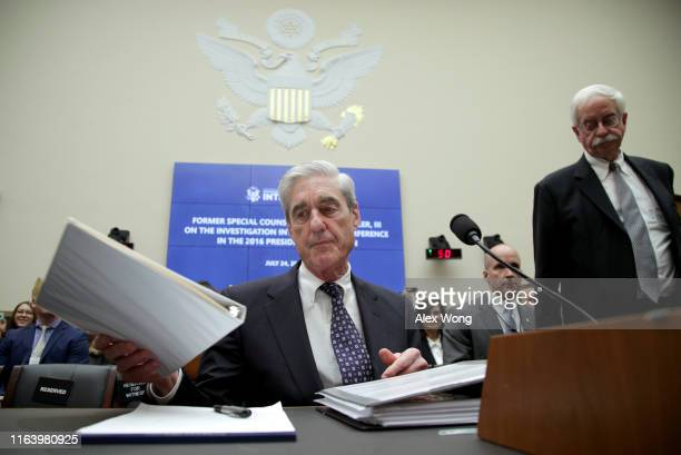 Former Special Counsel Robert Mueller arrives for testimony before the House Intelligence Committee about his report on Russian interference in the...