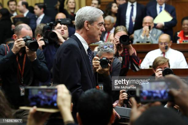 Former Special Counsel Robert Mueller arrives to testify before the House Judiciary Committee about his report on Russian interference in the 2016...