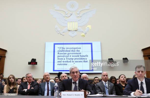 Former Special Counsel Robert Mueller testifies before a House Judiciary Committee hearing about his report on Russian interference in the 2016...