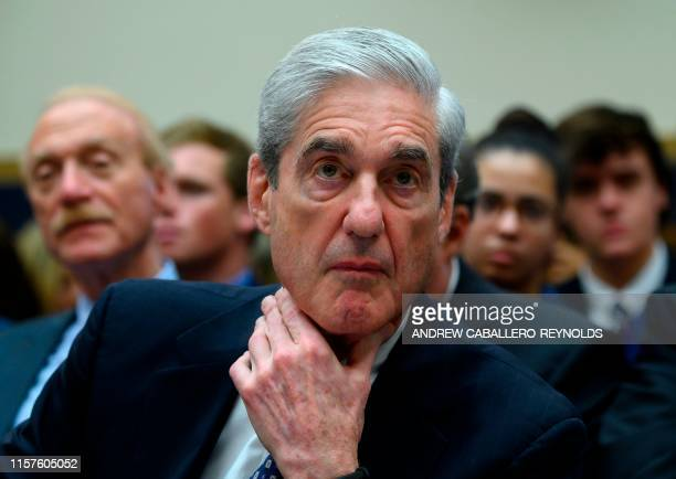 Former Special Counsel Robert Mueller testifies before the House Select Committee on Intelligence hearing on Capitol Hill in Washington DC July 24...