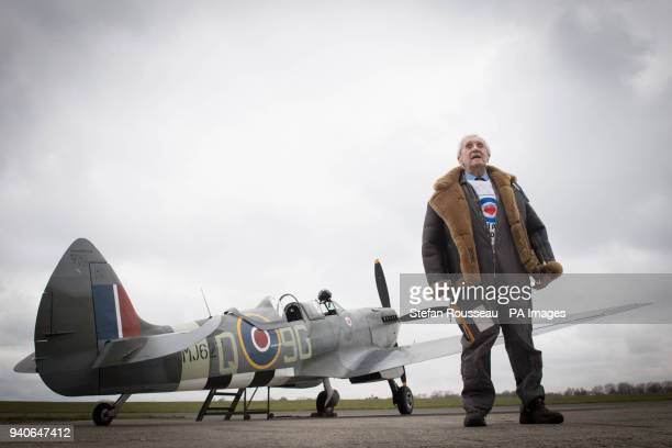Former Spitfire pilot Squadron Leader Allan Scott prepares to fly as a passenger in a Spitfire as part of the RAF100 commemorations at Biggin Hill...