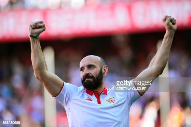 Former sports director of Sevilla Ramon Rodriguez Berdejo 'Monchi' bids goodbye to club supporters before the Spanish league football match Sevilla...
