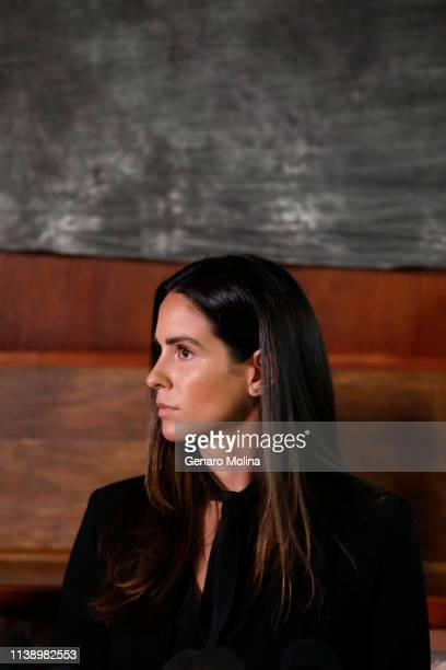 LOS ANGELES CA APRIL 23 2019 Former sports reporter Kelli Tennant at a news conference to discuss her sexual assault allegation against former Los...