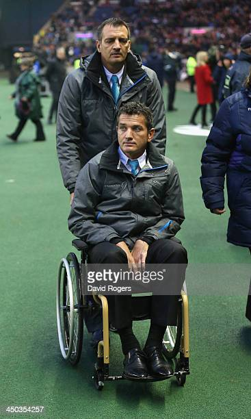 Former Springbok scrumhalf Joost van der Westhuizen who is suffering from Motor Neurone Disease joins the spectators during the International match...