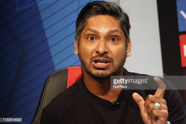 Former Sri Lanka cricketer Kumar Sangakkara reacts while addressesing the media in a press conference in Mumbai India on 22 March 2019 As the...