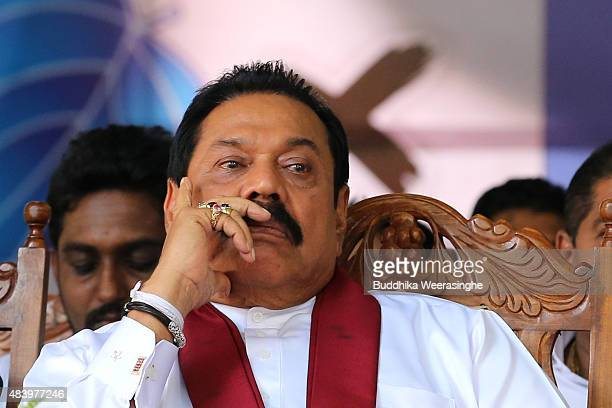 Former Sri Lankan president and parliamentary candidate Mahinda Rajapaksa attends his party's final day of election campaign rally on August 14, 2015...