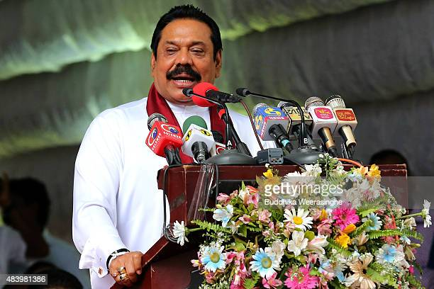 Former Sri Lankan president and parliamentary candidate Mahinda Rajapaksa speaks to voters during his party's rally on the final day of election...