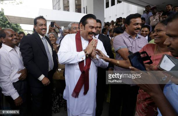 Former Sri Lankan President Mahinda Rajapaksa greets the people after attending an event at the Supreme Court Colombo Sri Lanka on Friday 16 February...