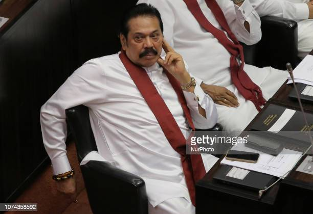 Former Sri Lankan prime minister Mahinda Rajapaksa looks on as he attends a session at the parliament complex, Colombo, Sri Lanka on 18 December 2018.