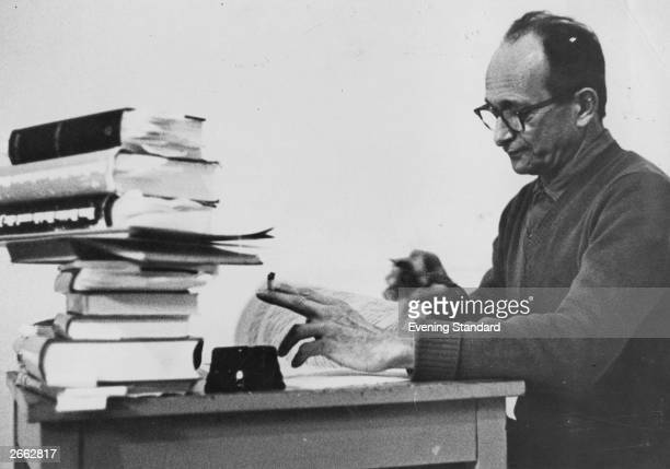 Former SS and Nazi leader Adolf Eichmann in Nazareth preparing his defence in the trial brought against him for war crimes and writing his memoirs...