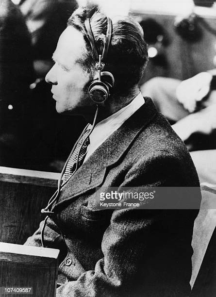 Former SSObersturmbannführer and commandant of Auschwitz concentration camp Rudolf Höss giving evidence at the International Military Tribunal at...