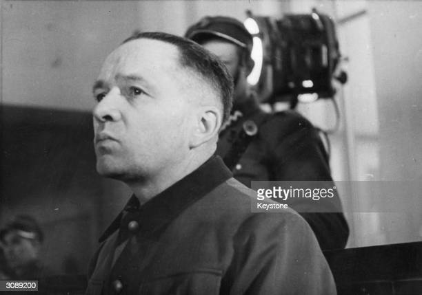 Former SSObersturmbannfuhrer Rudolf Hoess in Warsaw on the first day of his trial for war crimes committed at Auschwitz concentration camp of which...