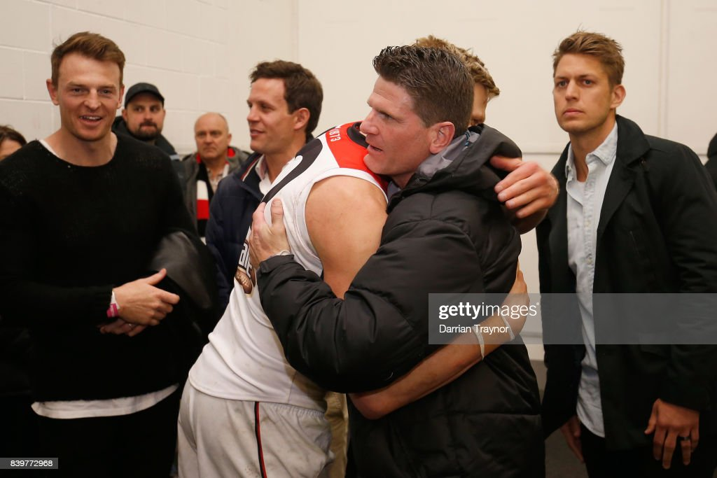 Former St Kilda champion Robert Harvey and Nick Riewoldt of the Saints embrace in the rooms after the round 23 AFL match between the Richmond Tigers and the St Kilda Saints at Melbourne Cricket Ground on August 27, 2017 in Melbourne, Australia.