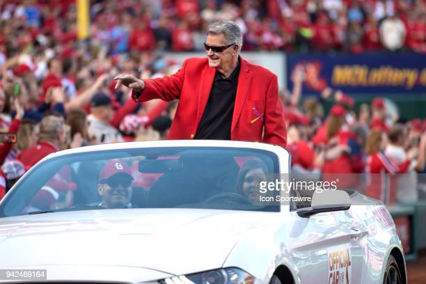 Former St Louis Cardinals and Hall of Fame Mike Shannon waves to the crowd during the 2018 home opener game between the St Louis Cardinals and the...
