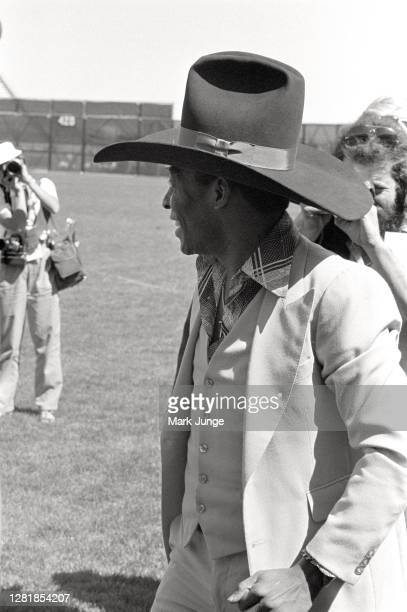 Former standout player Pele wears a gifted cowboy hat while being recognized during a soccer game between the Colorado Caribous and the New York...