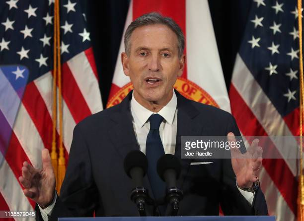 Former Starbucks CEO Howard Schultz speaks during a stop at Miami Dade College as he seeks a possible independent presidency run on March 13 2019 in...