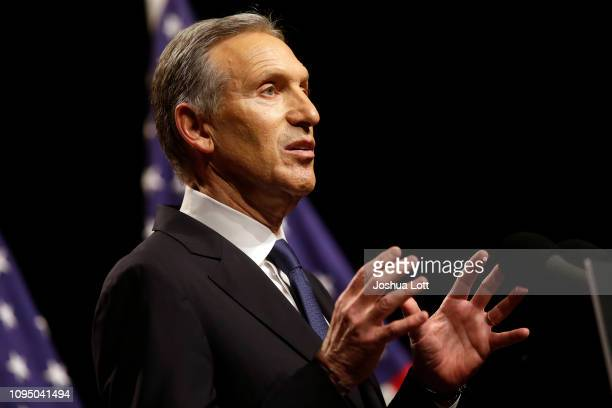Former Starbucks CEO Howard Schultz speaks to students at Purdue University's Fowler Hall on February 7 2019 in West Lafayette Indiana Schultz is...
